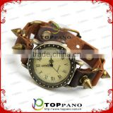 most popular alloy jewelry vintage style teen cow genuine leather bracelet vintage watch bracelet