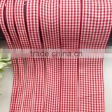 Factory Wholesale Cheap Customized New Style Polyamide Red And White Plaid Ribbon For Bow Hair Garment Accessories Material