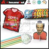 Soccer Uniform CC Stick Popping Candy With Football Star Puzzle in Football Clothes Shape Bag