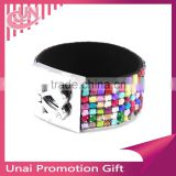 Fashion New 7 Row Crystal Rhinestone Bracelet Bling Cuff with Cute Silver Hear Clasp 11color