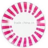 "Hot Pink and White Stripe Paper Plates Pack includes 12 paper plates Size 9"" (23cm)"