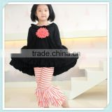 Wholesale Children's Boutique Clothing Kids Black Cotton Long Sleeve Flower Dress with Stripe Ruffle Pants Outfit Set Girl Cloth