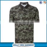 New fashion design tonal green cotton camouflage mens polo shirt