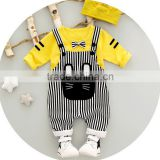 KS00228C New model with cartoon cat design t-shirt and bib overall cotton fabric kids clothing sets