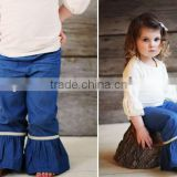 harem pants kids navy blue pants child girls vintage flared trousers wholesale ruffle pants 100% cotton kids trousers on sale