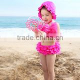 Charming children hot spring bathing suit girl baby split swimsuit flounce Bikini cute big bowknot swimwear send hat