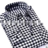 White and black small plaids flannel classical style for men daily life work business shirt
