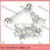 Nipple Skull Half Dangle Body Jewelry with star in stainless steel body piercing jewelry ring
