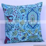 Turquoise Paisley Kantha Cushion Cover Kantha Throw Pillow Cover Hande Quilted Decorative Cushion Cover Ethnic Textile Art
