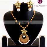 Kundan Pendant Set-Antique One gram Gold plated Pendant Set-Wholesale Antique Jewelry-Big pendant set
