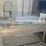 APEX custom make supermarket luxury faucet stainless steel sink front curve glass fish cleaning table