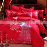 Chinese element embroidery jacquard red bedding set for wedding