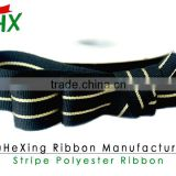 china supply black and golden stripe grosgrain ribbon whole sale can do whatever color you wanted