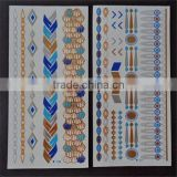 flash tattoos Newest Temporary gold silver blue color tattoos 10.5*21CM
