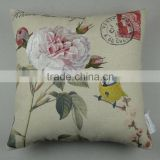 Flower and bird embroidery decorative pillow