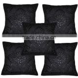 Home Furnishing Decorative Heavy Handmade Embroidered And Mirror Work Indian Cotton Cushion Pillow Covers