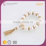 G66790I02 STYLE PLUS shiny gold plate pearl design bracelet hand chain bead pearl tassel bracelet for young girls