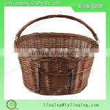 Wholesale Vintage Willow Wicker Bicycle Front Bike Basket with Dogs Pets Shopping Stuff Baskets                                                                         Quality Choice