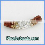 Curved Tube Beads Wholesale Crystal Clay Charms Fashion Shamballa Bracelets Spacer Connector Handmade CTB-022