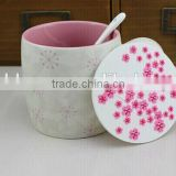 creative simple barrel shape of white120 oz carved sakura gift ceramic coffeee mug with lid