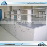 New Style Modern Laboratory Furniture for Hospital Steel Workbench with Drawers and Regent Shelf