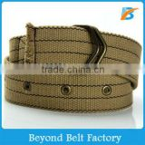 Fashion Heavy Duty Khaki Cotton Canvas Web Grommet Belt with Stitching for Sports
