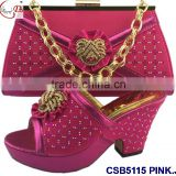 CSB5115 Top fashion pink african shoes and bag set 2016 best selling for party