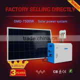 High efficiency 500w 220v ac 12v/24v dc off grid portable solar lighting system for lamp