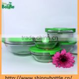 5pcs clear glass bowl set with pp lid (200/400/570/980/1350 ML)