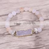 Gold Plated Natural Rectangle Agate Druzy Gemstone Bracelet, with 8mm Frosted Agate Beaded Bracelets Jewelry