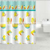 high quality waterproof duck printed shower curtain for children