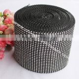 black wedding rhinestone mesh wrap tape for cake & candle &centerpeice 12CM*10 yard