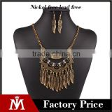 Wholesale ethnic gold jewelry set leaf tassels necklace collar and vintage drop earrings