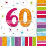 Adult Birthday Supplies/60th birthday party supplies Tableware /Radiant Birthday 60th Napkins Pk 16
