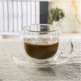 European high borosilicate heat-resistant glass coffee cup with handle,spoon and saucers.double wall glass coffee tea cup sets.