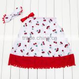 2016 New Style Girls Pillowcase Dress, Wholesale Boutique Clothing Cherry Printing Cotton Farbic Sling Frock Design Baby Clothes
