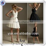 QQ301 Black A-line mini lace halter bridesmaid dress