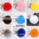 New Cute Keychain pompons rabbit fur fluffy Pom Pom key rings