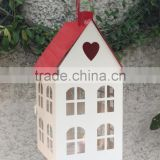 Red-White House Lantern With Led Light Inside