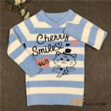 Animal Cable Knitting  Stripe V-collar Sweater for Girl