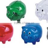 Clear Glass Chubby Pig Piggy Bank Saving Money Coin Box gift for Kids