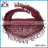 Latest new fashion small neck lace scarf factory china