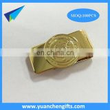 New engraved metal square paper clip with gold color