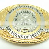 High Quality OEM Custom Design style Belt Buckle Double Plating Gold Silver 2D 3D