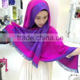 Rectangle French cotton muslim scarf pashmina dual-face dual color islamic headscarf shawl