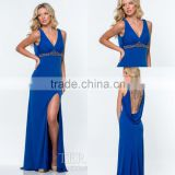 Sexy Empire Sheer Beaded Back Side Slit Royal Blue Evening Dress Online Shipping Blow Back Gown