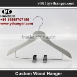 IMY-174 grey wooden thin kids hangers with clips baby hanger