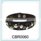 Latest designs one layer hip hop press stud rivets leather punk bracelet,leather fashion rivets bracelet