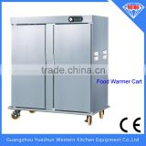 High quality industrial double door heated air circulation stainless steel food warmer cart