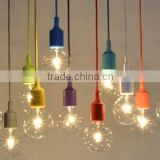 Simply Colourful E27 Pendant Light with Plastic Ceiling Rose, Braided Textile Wire, Silicone Lamp Socket
